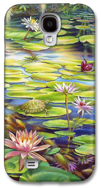 Butterfly Koi Galaxy S4 Cases - Water Lilies at McKee Gardens I - Turtle Butterfly and Koi Fish Galaxy S4 Case by Nancy Tilles