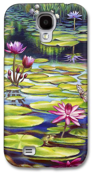 Butterfly Koi Galaxy S4 Cases - Water Lilies at McKee Gardens II - Butterfly and Frog Galaxy S4 Case by Nancy Tilles
