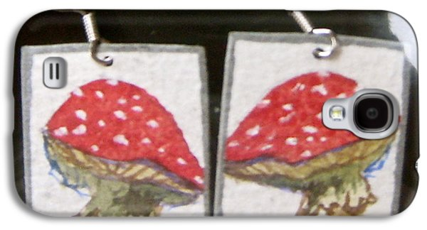 Girl Jewelry Galaxy S4 Cases - Watercolor Earrings Amanita Galaxy S4 Case by Beverley Harper Tinsley