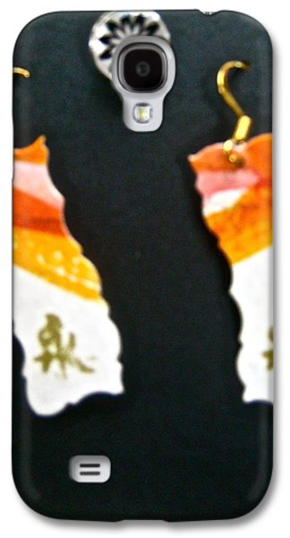 Girl Jewelry Galaxy S4 Cases - Watercolor Earrings Eternity Orange White Gold Galaxy S4 Case by Beverley Harper Tinsley