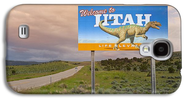 Transportation Photographs Galaxy S4 Cases - Welcome to Utah Sign Galaxy S4 Case by Bryan Mullennix