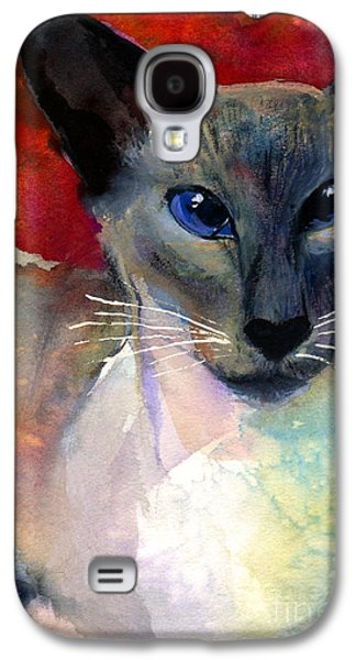 Watercolor Drawings Galaxy S4 Cases - Whimsical Siamese Cat painting Galaxy S4 Case by Svetlana Novikova