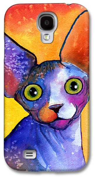 Watercolor Drawings Galaxy S4 Cases - Whimsical Sphynx Cat painting Galaxy S4 Case by Svetlana Novikova