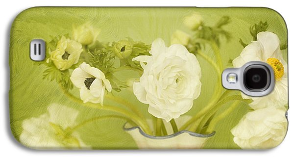 White Anemonies And Ranunculus On Green Galaxy S4 Case by Susan Gary