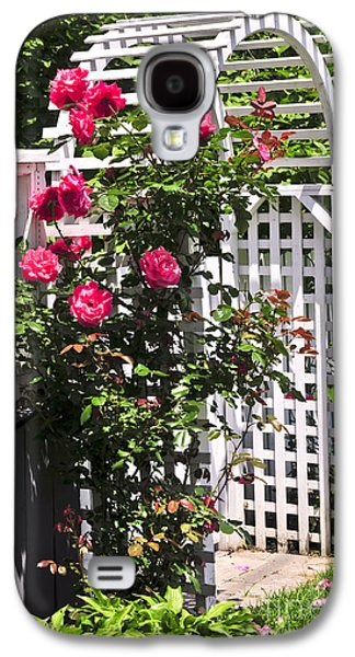 Quaint Photographs Galaxy S4 Cases - White arbor in a garden Galaxy S4 Case by Elena Elisseeva