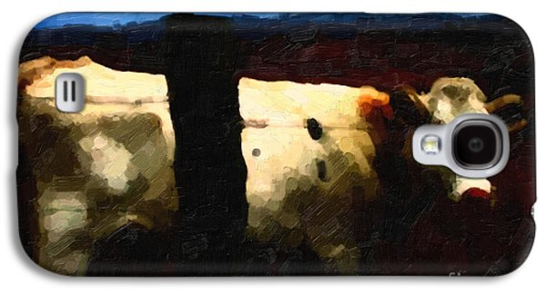 Cow Digital Galaxy S4 Cases - White Cow Behind Fence at Night Galaxy S4 Case by Wingsdomain Art and Photography