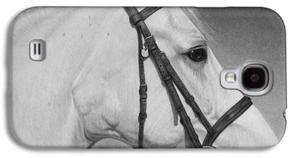 Graphite Galaxy S4 Cases - White Horse Galaxy S4 Case by Tim Dangaran