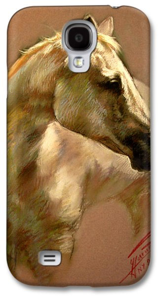 White Pastels Galaxy S4 Cases - White Horse Galaxy S4 Case by Ylli Haruni