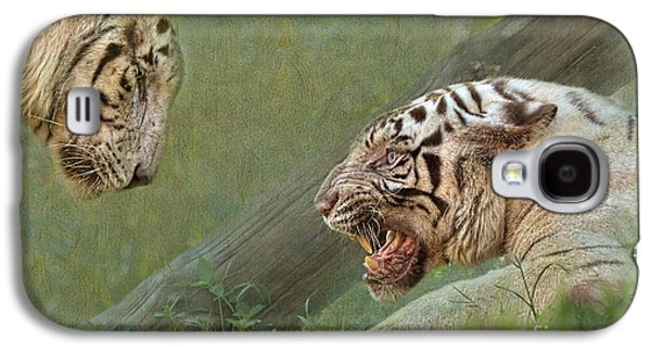 Growling Galaxy S4 Cases - White tiger growling at her mate Galaxy S4 Case by Louise Heusinkveld