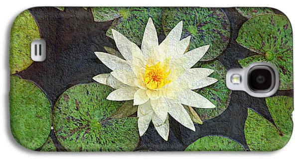 Aquatic Mixed Media Galaxy S4 Cases - White Water Lily Galaxy S4 Case by Andee Design
