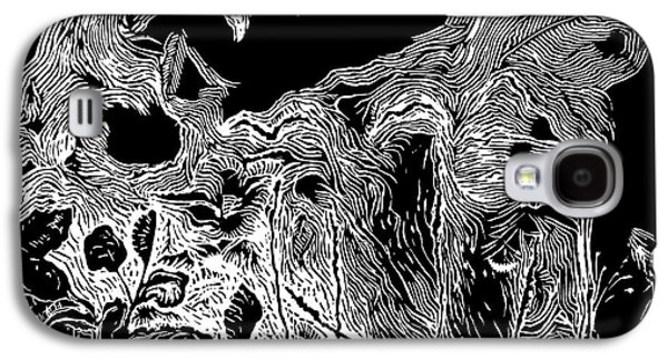 Linocut Drawings Galaxy S4 Cases - Wild Meadow Galaxy S4 Case by Dariusz Gudowicz