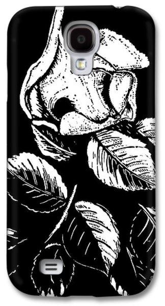 Linocut Drawings Galaxy S4 Cases - Wild Rose Galaxy S4 Case by Dariusz Gudowicz