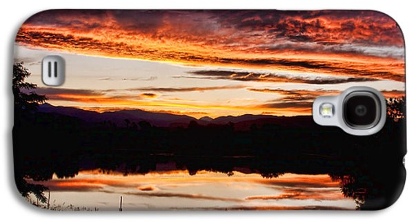 Sunset Posters Galaxy S4 Cases - Wildfire Sunset Reflection Image 28 Galaxy S4 Case by James BO  Insogna