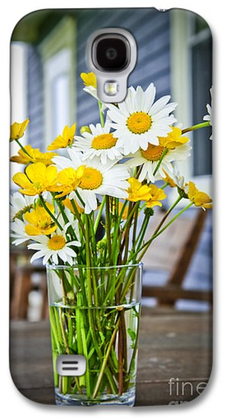 Cabin Window Galaxy S4 Cases - Wildflowers bouquet at cottage Galaxy S4 Case by Elena Elisseeva