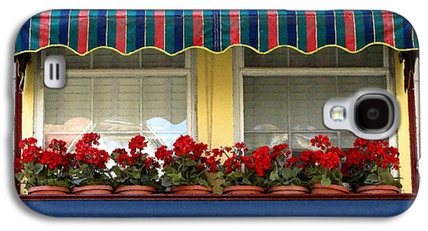 Red Geraniums Galaxy S4 Cases - Window Box Geraniums Galaxy S4 Case by Colleen Kammerer
