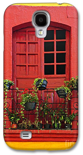 Frame House Galaxy S4 Cases - Window on Mexican house Galaxy S4 Case by Elena Elisseeva