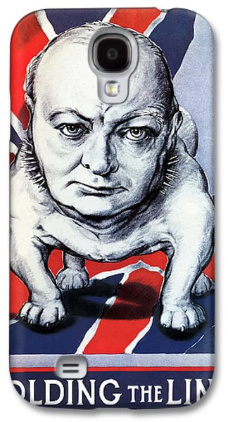 Patriotic Mixed Media Galaxy S4 Cases - Winston Churchill Holding The Line Galaxy S4 Case by War Is Hell Store