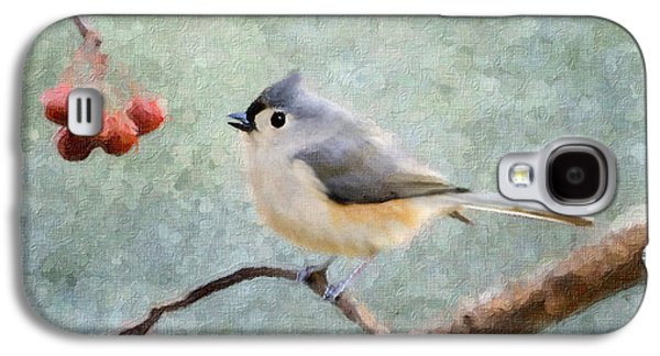 Tufted Titmouse Galaxy S4 Cases - Winter Berries Galaxy S4 Case by Betty LaRue