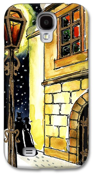 Night Lamp Paintings Galaxy S4 Cases - Winter Romance Galaxy S4 Case by Mona Edulesco