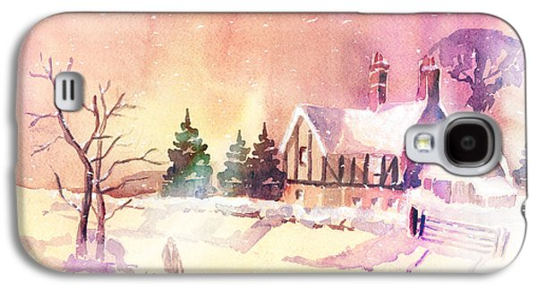 Snow Scene Landscape Paintings Galaxy S4 Cases - Winter Stroll Galaxy S4 Case by Arline Wagner