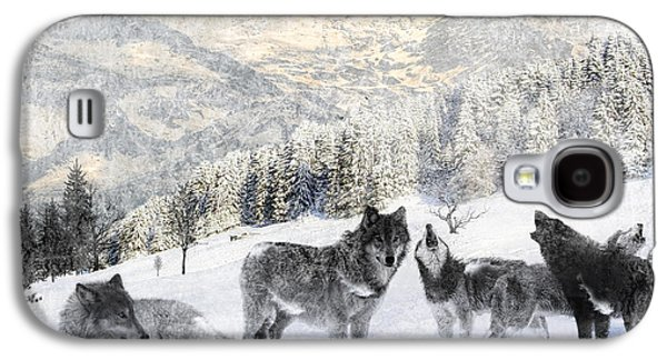 Snowy Digital Art Galaxy S4 Cases - Winter Wolves Galaxy S4 Case by Lourry Legarde
