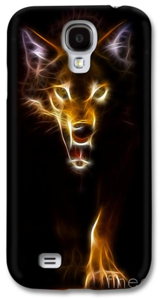 Face Mixed Media Galaxy S4 Cases - Wolf Ready to Attack Galaxy S4 Case by Pamela Johnson
