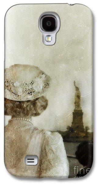 Statue Portrait Galaxy S4 Cases - Woman in Hat Viewing the Statue of Liberty  Galaxy S4 Case by Jill Battaglia