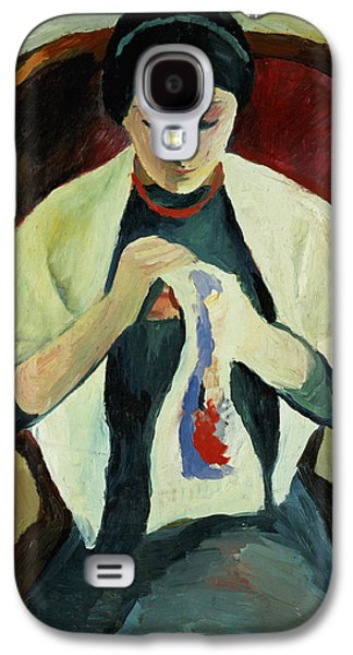 Woman Sewing Galaxy S4 Case by August Macke