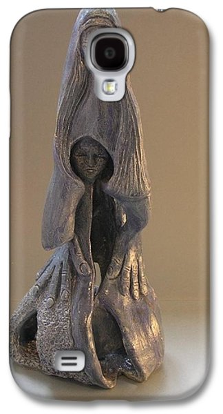 Grey Sculptures Galaxy S4 Cases - Womb Ceramics Sculpture  in Grey woman and child in her womb large hands long hair   Galaxy S4 Case by Rachel Hershkovitz