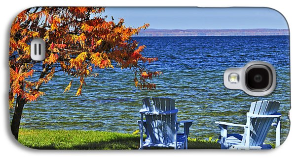 Chair Galaxy S4 Cases - Wooden chairs on autumn lake Galaxy S4 Case by Elena Elisseeva