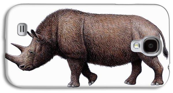 One Horned Rhino Galaxy S4 Cases - Woolly Rhinoceros, Artwork Galaxy S4 Case by Mauricio Anton