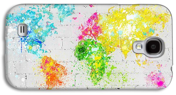 Dirty Digital Art Galaxy S4 Cases - World Map Painting On Brick Wall Galaxy S4 Case by Setsiri Silapasuwanchai
