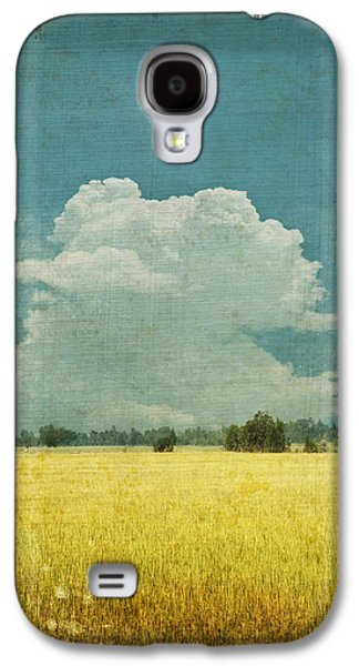 Clouds Digital Art Galaxy S4 Cases - Yellow field on old grunge paper Galaxy S4 Case by Setsiri Silapasuwanchai