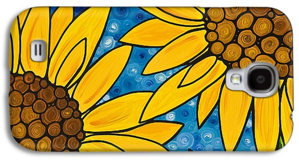 Sunflower Paintings Galaxy S4 Cases - Yellow Sunflowers Galaxy S4 Case by Sharon Cummings