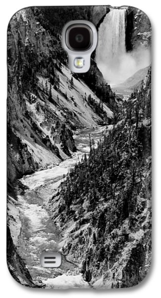 Grand Canyon Photographs Galaxy S4 Cases - Yellowstone Waterfalls in Black and White Galaxy S4 Case by Sebastian Musial