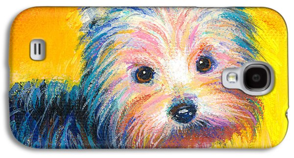 Cute Puppy Galaxy S4 Cases - Yorkie puppy painting print Galaxy S4 Case by Svetlana Novikova