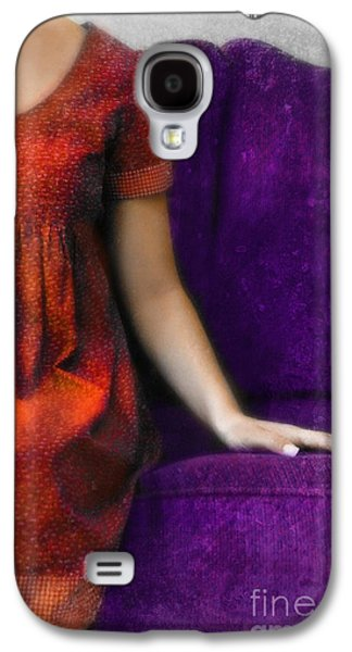 Youthful Galaxy S4 Cases - Young Woman in Red on Purple Couch Galaxy S4 Case by Jill Battaglia