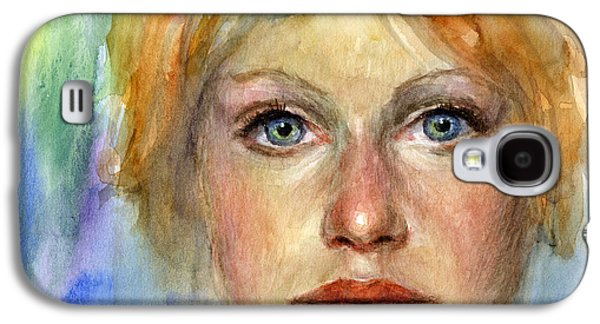 Photo Drawings Galaxy S4 Cases - Young woman Watercolor portrait painting Galaxy S4 Case by Svetlana Novikova