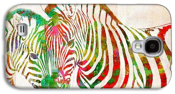 Animal Lover Digital Art Galaxy S4 Cases - Zebra Lovin Galaxy S4 Case by Nikki Marie Smith