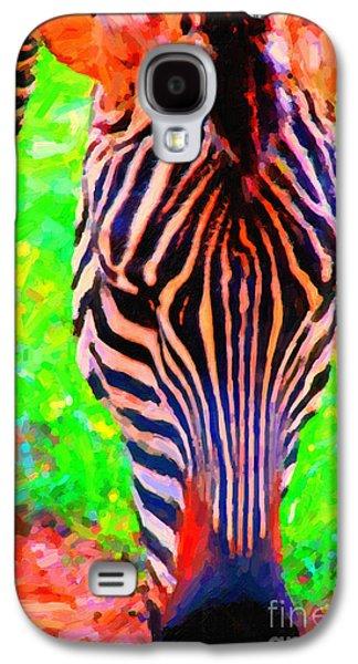Zebra Digital Art Galaxy S4 Cases - Zebra . Photoart Galaxy S4 Case by Wingsdomain Art and Photography
