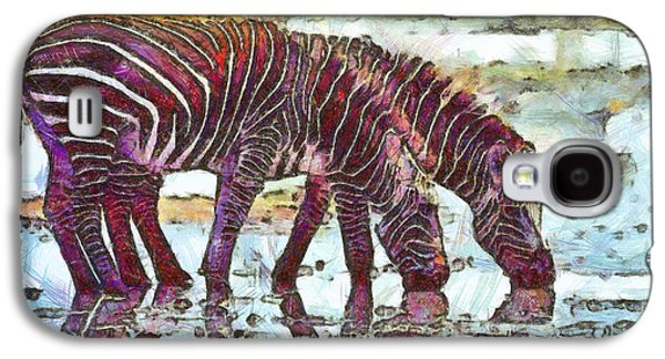 Surreal Landscape Drawings Galaxy S4 Cases - Zebras Galaxy S4 Case by George Rossidis