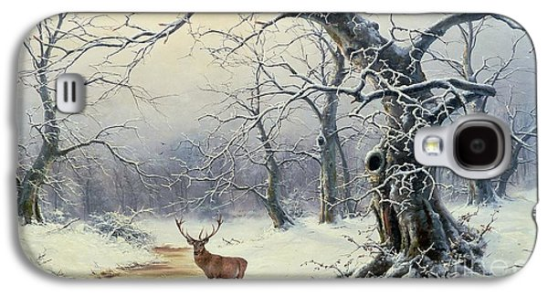 Snow Scene Galaxy S4 Cases -  A Stag in a Wooded Landscape  Galaxy S4 Case by Nils Hans Christiansen