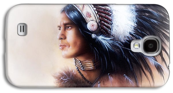 Native American Spirit Portrait Paintings Galaxy S4 Cases -  Beautiful Painting Of A Young Indian Warrior Wearing A Gorgeous Feather Headdress Profile Portrait Galaxy S4 Case by Jozef Klopacka