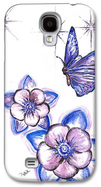 Lilacs Drawings Galaxy S4 Cases -  Butterfly Amongst The Flowers Galaxy S4 Case by Teresa White
