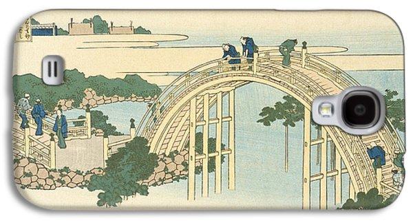 Famous Bridge Galaxy S4 Cases -  Drum Bridge of Kameido Tenjin Shrine from the Series Wondrous Views of Famous Bridges in All the Pr Galaxy S4 Case by Katsushika Hokusai