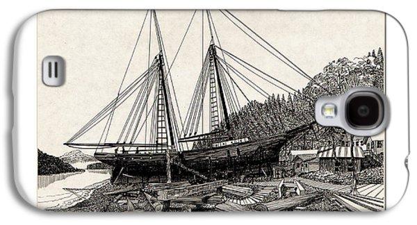 Building Framed Prints Galaxy S4 Cases -  Gig Harbor 1891 Skansi Shipyard in Galaxy S4 Case by Jack Pumphrey