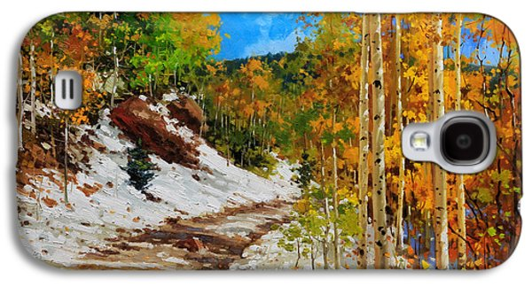 Aspen Galaxy S4 Cases -  Golden aspen trees in snow Galaxy S4 Case by Gary Kim