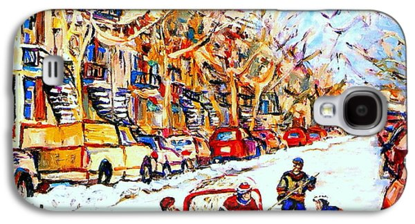 Hockey Sweaters Paintings Galaxy S4 Cases -  Hockey Game On Colonial Street  Near Roy Montreal City Scene Galaxy S4 Case by Carole Spandau