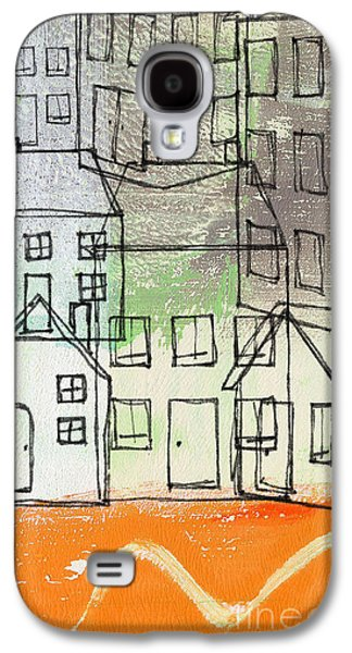 Studio Mixed Media Galaxy S4 Cases -  Houses By The River Galaxy S4 Case by Linda Woods