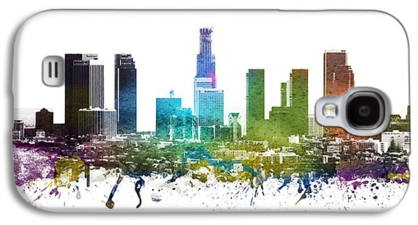 Skylines Drawings Galaxy S4 Cases -  Los Angeles cityscape 01 Galaxy S4 Case by Aged Pixel